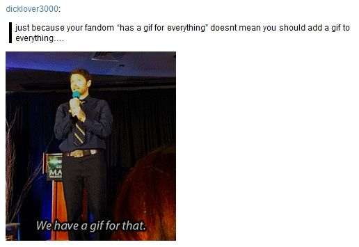 "Misha Collins ""We have a gif for that."" DCcon 2014 [gif] - Oh dear lord, now the actors are referencing it."