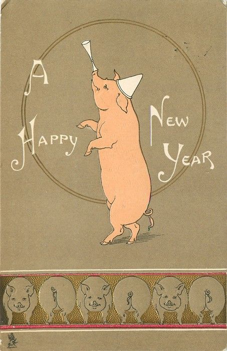 A HAPPY NEW YEAR  pig balancing cones on its nose, line up of pigs along bottom of card
