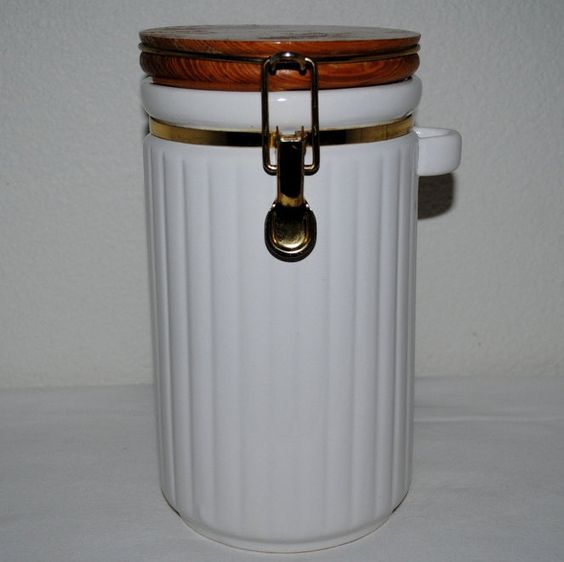 Ceramic Kitchen Canisters >> Canister, White Ceramic Fluted Design, Wood Lid, Clamp Lid, Lock and Seal Gasket, Spoon Rest ...