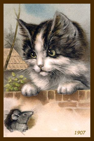 Olde America Antiques | Quilt Blocks | National Parks | Bozeman Montana : Cats and Kittens - Cat and Mouse