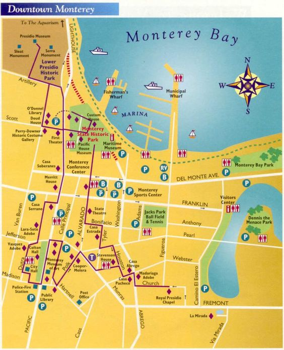 Map of Downtown Monterey Travel SFO to Big Sur – Tourist Attractions Map In California