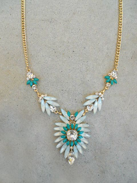 Green Thistle & Sparkle Necklace