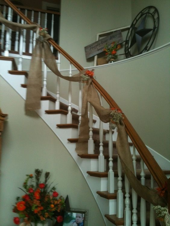 Staircase decorated with burlap jars with lights - How to decorate stairs ...