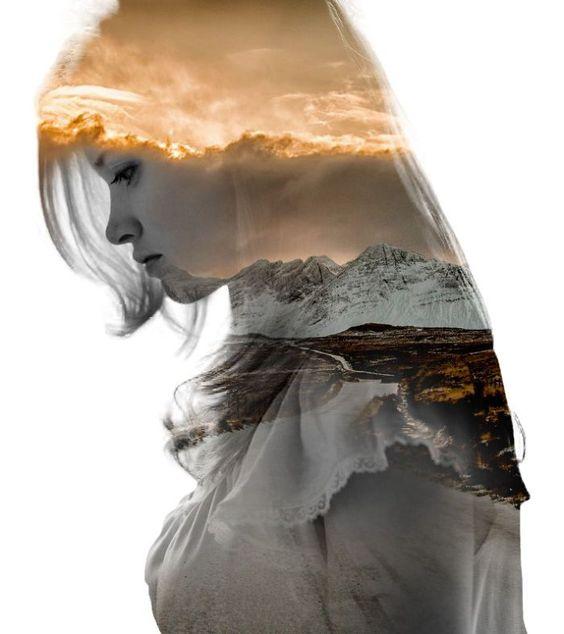 Retratos de dupla exposição juntando dois mundos em um: