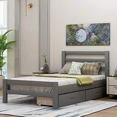 Twin Bed Frame With Storage Drawers And Headboard Wood Platform Bed Frame Mattress Foundati In 2020 Bed Frame And Headboard Bed Frame With Storage Solid Wood Bed Frame
