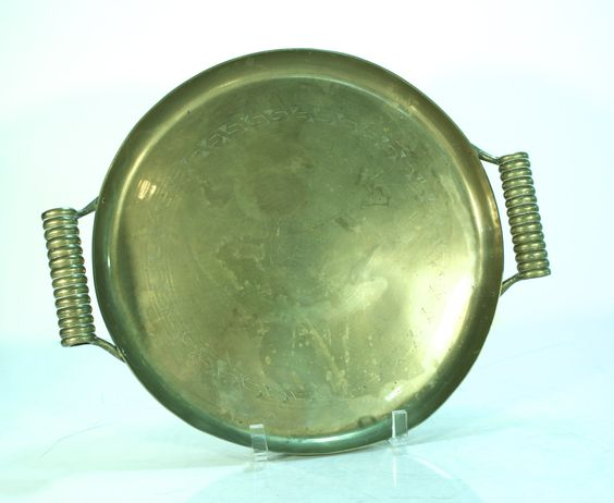 Brass Embossed Tray with Spiral Handles -- Vintage Serving Tray -- Asian Serving Tray -- CA0200 by Revendeur on Etsy