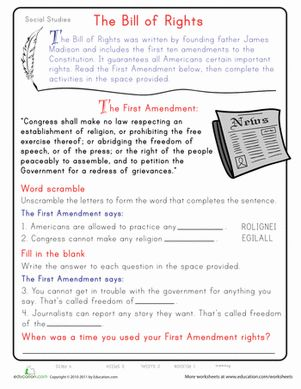 Printables Easy Social Studies Worksheets learn the first amendment head start ojays and children this second grade social studies worksheet will give your child a on bill