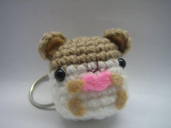 Kawaii Amigurumi Cupcake Keychain : Amigurumi Kawaii Hamster Heart Keychain Crochet by ...