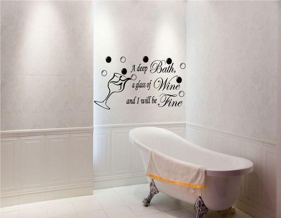 Bathroom Paintings Art Bath Wine Be Fine Bathroom Ensuite Vinyl Art Wall Stickers Quotes