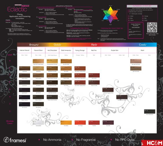 framesi framcolor eclectic color chart color charts