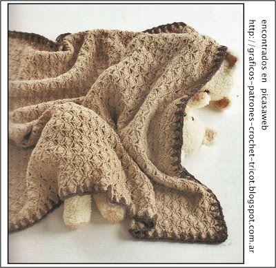 Tejidos a crochet ganchillo patrones mantilla - Manta de bebe a ganchillo ...