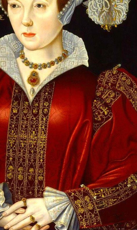 KATHARINE PARRE, QUEEN of ENGLAND (The sixth and final wife of King Henry), William Scrots,1546, detail