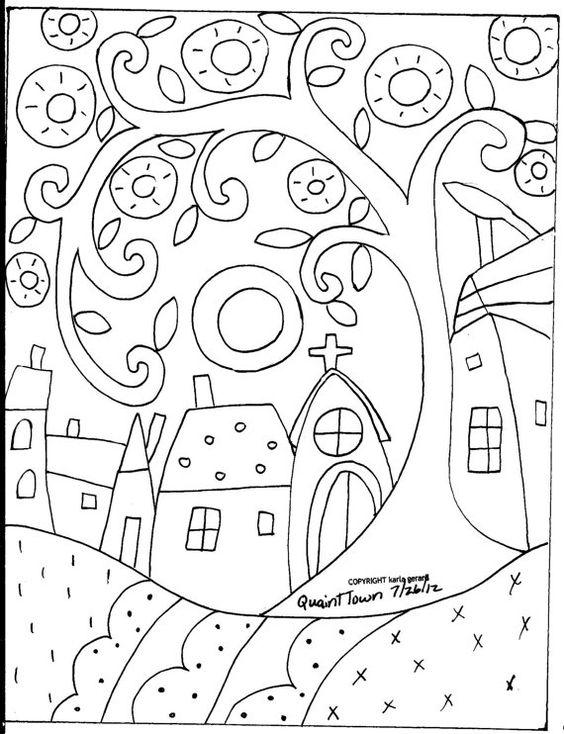 Rug Hooking papier modèle ville pittoresque Folk Art abstrait Primitive KARLA…