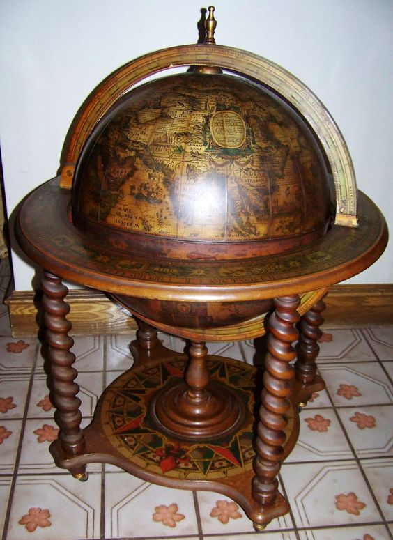 Antique Barley Twist Liquor Tail Cabinet Old World Map Globe Bar Vtg Wheels And