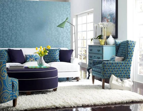 interior design fabrics - White furry rug, Wallpaper living rooms and Furry rugs on Pinterest