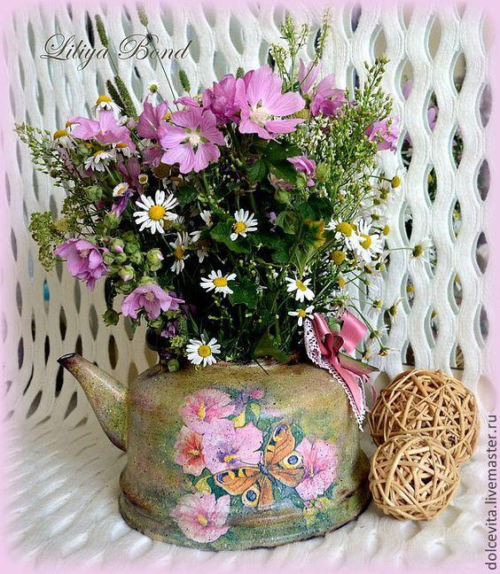 """Купить Ваза-лейка """"Цветочная"""" - чайник, лейка, цветы, Декупаж, ваза, авторская ручная работа"""