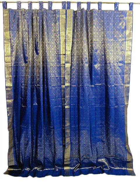 Curtains Ideas blue and gold curtains : 2 Sari Curtains Royal Blue Gold Brocade Silk India Tab Top 96inch ...