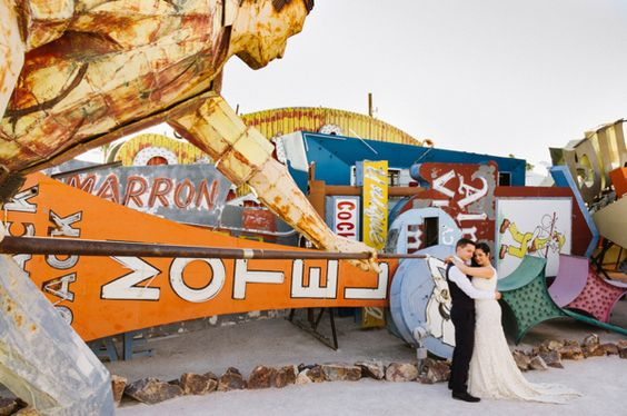 Vibrant Las Vegas Elopement in a sign graveyard!