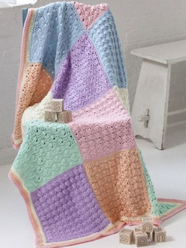 Sampler Squares Baby Blanket Yarn Free Knitting Patterns Crochet Patter...