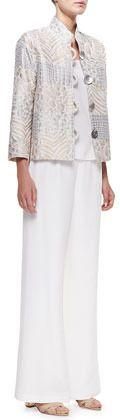 Caroline Rose Silk Crepe Wide-Leg Pants, Women's on shopstyle.com