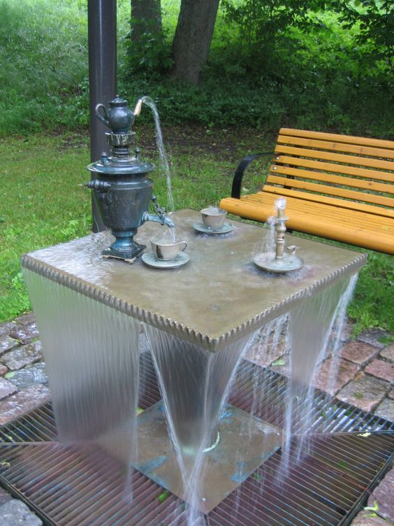 I love this unique water feature will be the center of for Homemade tabletop water fountain