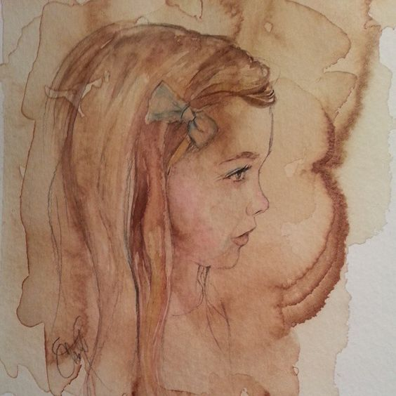 Watercolor and Coffee Portrait of Ginnie www.christystudios.com