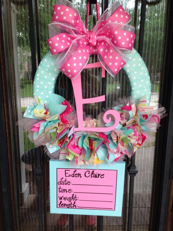 Baby ribbon wreath nursery hospital door kumari garden for Baby girl hospital door decoration
