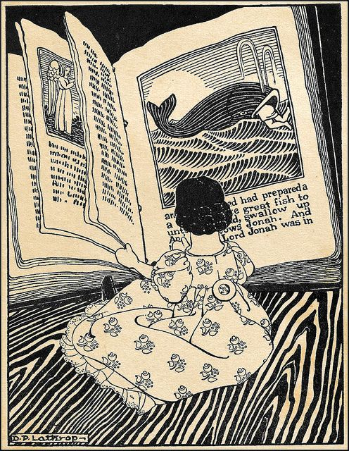 Hitty, Her First Hundred Years - Reading Jonah and the Great Fish 1929 Illustrated by Dorothy Lathrop by Plum leaves, via Flickr: