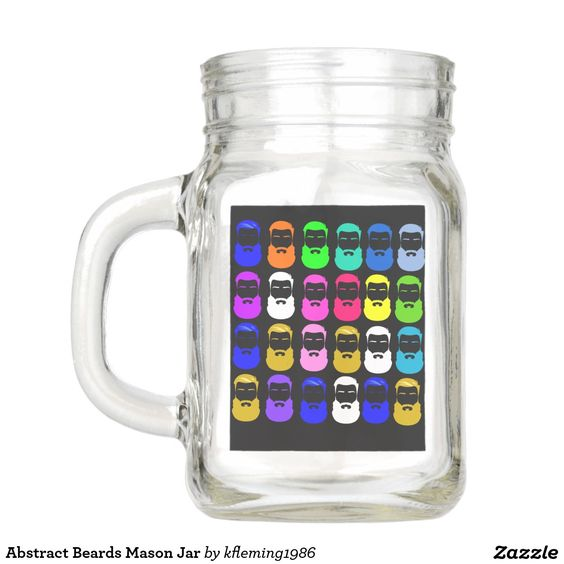 Abstract Beards Mason Jar