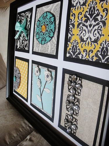 Embellished Wall Art Frame. Black frame with a white mat, used scrapbook papers in black, white, yellow, and teal. Embellished with vintage jewelry, flowers, and ribbon.