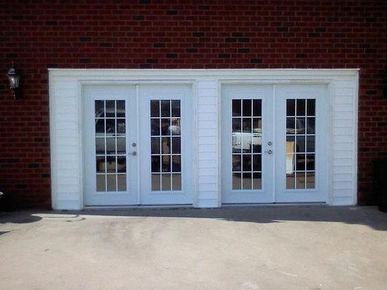 Converted garage doors into french doors craft rooms for Convert two door garage into one