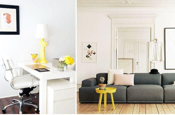 Sutiles detalles amarillos que transforman la decoración