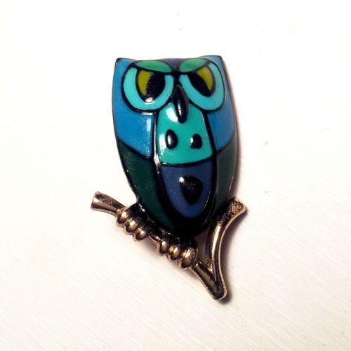 Vintage Eisenberg Enamel Pin Brooch Owl Handpainted Artist Series Signed