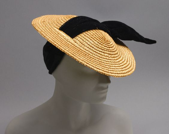 Woman's hat | United States, circa 1936 | Label: Bonwit Teller, Philadelphia | Materials: straw, black velvet ribbon | Philadelphia Museum of Art: