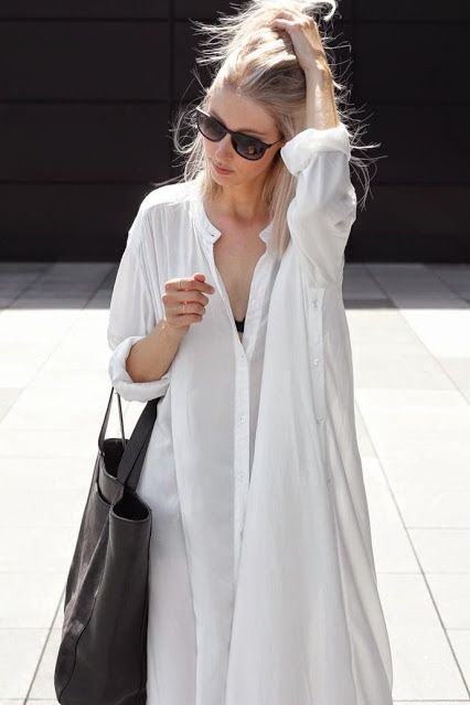 white over-sized button down