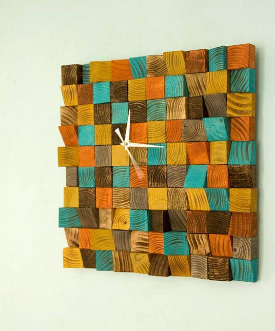 Wood wall Clock, reclaimed wood art clock, geometric, mosaic
