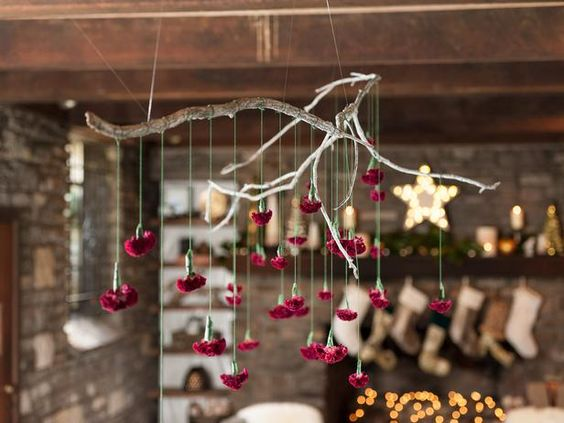 Home for the #Holidays: Make a Hanging Branch Chandelier (http://blog.hgtv.com/design/2013/11/22/make-a-holiday-branch-chandlier-hanging-centerpiece/?soc=pinterest)