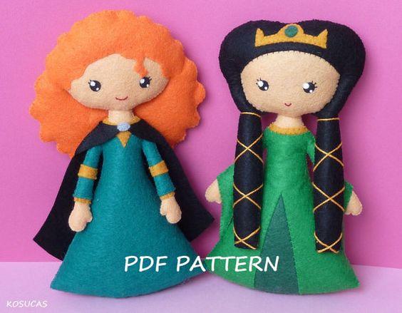 PDF sewing pattern to make a felt doll inspired in por Kosucas, €6.00