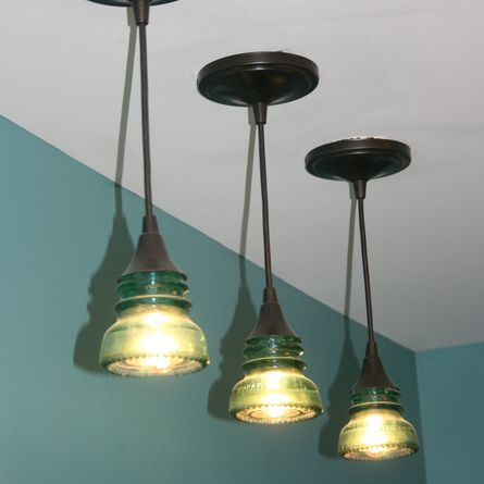 Home dads home and the o 39 jays for Diy glass insulator pendant light