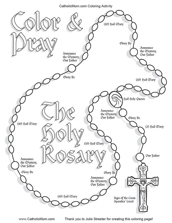 Coloring page for kids rosary from CatholicMom.com