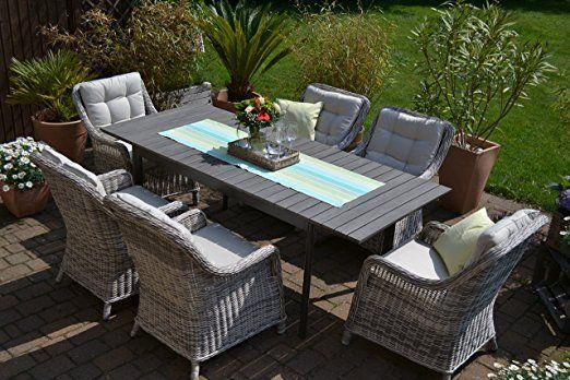 Gartenmöbel Set Como-6 Tisch ausziehbar Holzdekor mit 6 Sessel