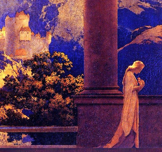 Romance (detail), 1922, by Maxfield Parrish (1870–1966). Oil on board   National Museum of American Illustration, Newport, Rhode Island:
