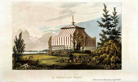 Venetian tent for the garden (easier to picture those Venetian breakfasts now), via 2 Nerdy History Girls