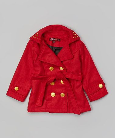 Look what I found on #zulily! Tango Red Belted Peacoat - Toddler & Girls #zulilyfinds