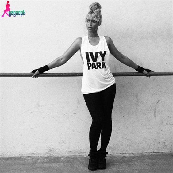 Gagaopt 2016 Women T-shirt Ivy Park Letter Print Sleeveless Brand Sport Tee Shirt Femme Camisetas Mujer American Apparel - Pandora Fashion