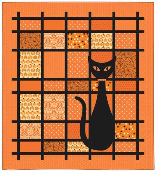 "= free pattern = That Cat quilt, 29 x 32"", at McCall's Quilting.  Design by Pamela Lincoln."