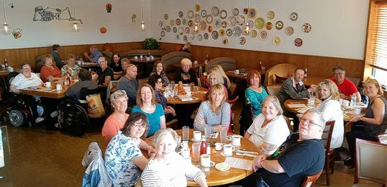 Group shot of the MS Support Group, which meets at the Elk Grove Village Public Library, at Elly's Pancake House celebrating the chapter's 20th anniversary.