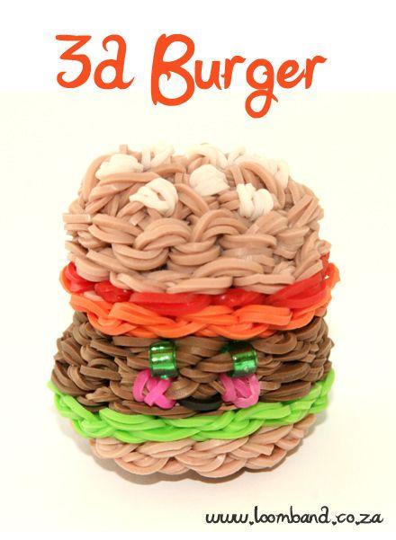 3D Happy Hamburger loom band tutorial  http://loomband.co.za/ice-cream-cone-loom-band-tutorial/