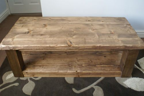 Rustic Pine Coffee Table With Shelf Sleeper Plank Beam Solid Wood Hand Made  | Pine Coffee Table, Plank And Solid Wood