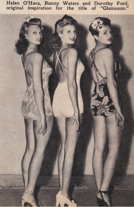 1940s glamazon beauties - vintage 1940s swimsuits, flower hair